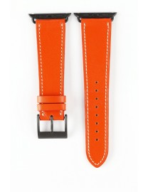 BRACELET MONTRE APPLE WATCH CUIR ORANGE COUTURE ECRUE / ADAPTATEUR PVD NOIR