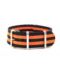 BRACELET NATO NOIR DOUBLE ORANGE - NATO NYLON